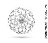 hand drawing vector flower... | Shutterstock .eps vector #490059298