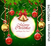 green background with christmas ...   Shutterstock .eps vector #490071298