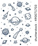 vector doodle space with... | Shutterstock .eps vector #490071703