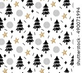 christmas pattern with tree ... | Shutterstock .eps vector #490071994