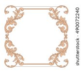vintage border frame engraving...   Shutterstock .eps vector #490072240