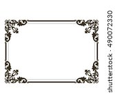 vintage border frame engraving... | Shutterstock .eps vector #490072330