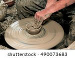 arts and crafts working clay... | Shutterstock . vector #490073683