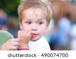 adorable cute toddler portrait... | Shutterstock . vector #490074700