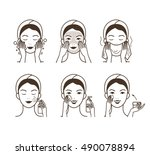 girl cares about her face.... | Shutterstock .eps vector #490078894