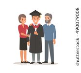 graduated student with parents. ... | Shutterstock .eps vector #490079008