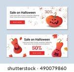 halloween template banners in... | Shutterstock .eps vector #490079860