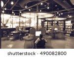 blurred image of computer... | Shutterstock . vector #490082800