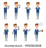 set of businessman characters... | Shutterstock .eps vector #490082848