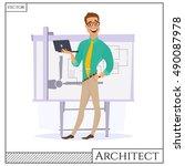 chef construction engineer man... | Shutterstock .eps vector #490087978