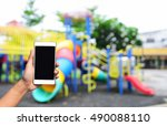 blurred image hand hold and... | Shutterstock . vector #490088110
