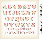 alphabet set design  vector... | Shutterstock .eps vector #490088650