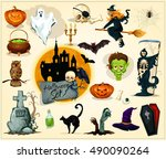 halloween icons and symbols.... | Shutterstock .eps vector #490090264