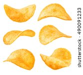Potato Chips Isolated On White...