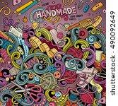 cartoon cute doodles hand drawn ... | Shutterstock .eps vector #490092649