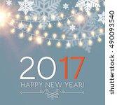 elegant new 2017 year... | Shutterstock .eps vector #490093540