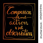 compassion without action is... | Shutterstock .eps vector #490095994