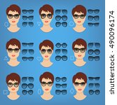 woman sunglasses shapes for... | Shutterstock .eps vector #490096174