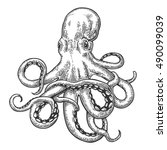 octopus. vector black engraving ... | Shutterstock .eps vector #490099039