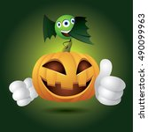 halloween pumpkin  ... | Shutterstock .eps vector #490099963