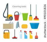 cleaning tools isolated on... | Shutterstock .eps vector #490101826