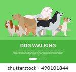 dog walking conceptual web... | Shutterstock .eps vector #490101844