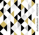 Abstract Seamless Pattern. Seamless Pattern with Triangles. Gold black and white triangle Pattern . Vector illustration | Shutterstock vector #490102348