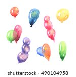hand drawn watercolor... | Shutterstock . vector #490104958