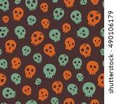 seamless halloween pattern....   Shutterstock .eps vector #490106179