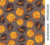 seamless halloween pattern.... | Shutterstock .eps vector #490106218