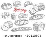 bread sorts and bakery products.... | Shutterstock .eps vector #490110976