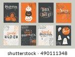 vector halloween greeting card  ... | Shutterstock .eps vector #490111348
