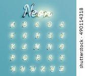 realistic neon character... | Shutterstock .eps vector #490114318