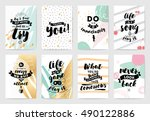 set of cards or posters with... | Shutterstock .eps vector #490122886
