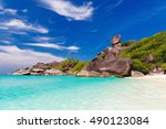sailing rock  clear sea and... | Shutterstock . vector #490123084