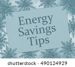 energy savings tips card  blue... | Shutterstock . vector #490124929