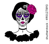 girl with sugar skull makeup.... | Shutterstock .eps vector #490127893