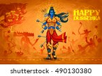 illustration of lord rama with... | Shutterstock .eps vector #490130380