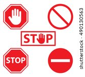stop icon set | Shutterstock .eps vector #490130563