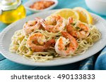 a delicious plate of shrimp... | Shutterstock . vector #490133833