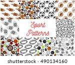 sport objects seamless pattern. ... | Shutterstock .eps vector #490134160