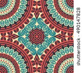 colorful ethnic patterned... | Shutterstock .eps vector #490147828