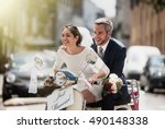 in the city. newlyweds having... | Shutterstock . vector #490148338