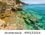 tropical bay on crete island ... | Shutterstock . vector #490151014