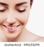 closed eyes lashes. beautiful... | Shutterstock . vector #490153294