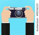 flat illustration of retro... | Shutterstock .eps vector #490156213