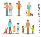 single father with children.... | Shutterstock .eps vector #490156279