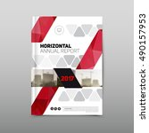 annual report brochure flyer... | Shutterstock .eps vector #490157953