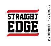 straight edge black red text... | Shutterstock .eps vector #490158778
