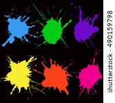 paint color splat set. abstract ... | Shutterstock .eps vector #490159798